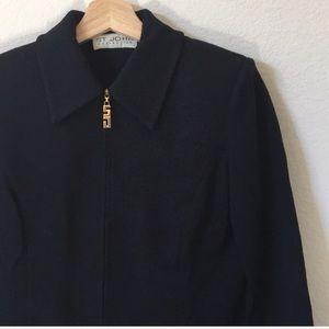 { St. John } zipper up knit blazer